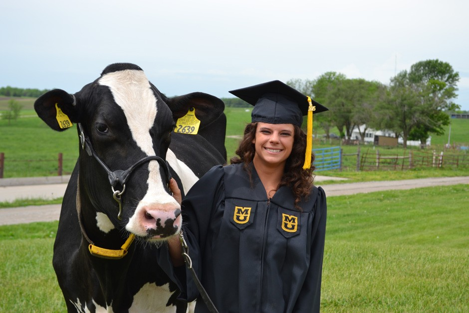 Kendra Earl in regalia with a cow.