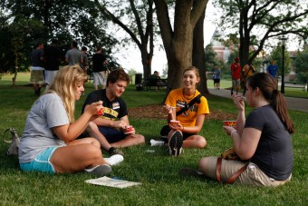Students eating ice cream.