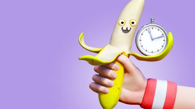 Banana with clock.