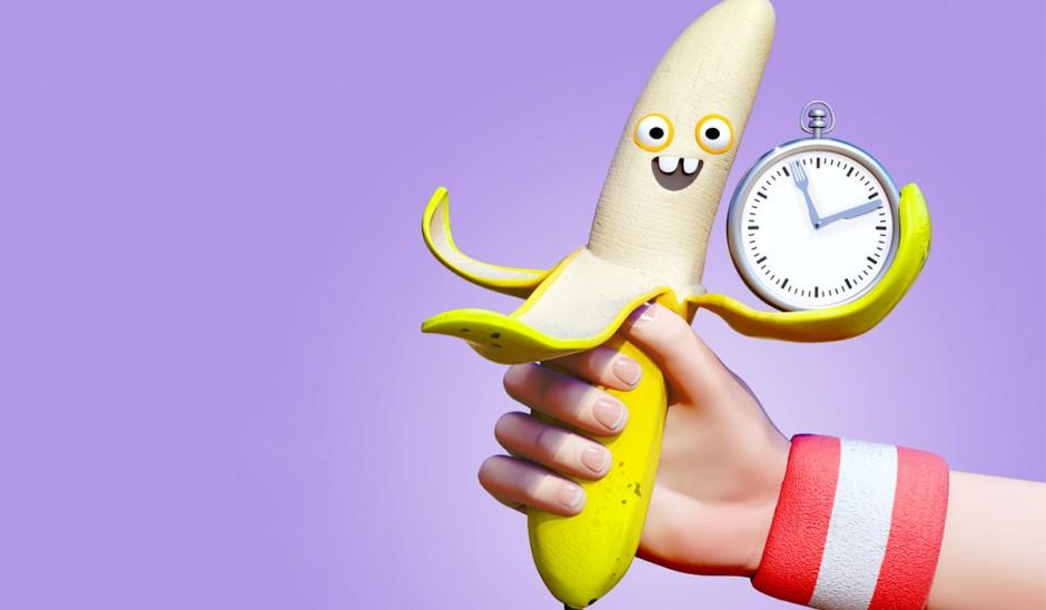 Banana with clock.