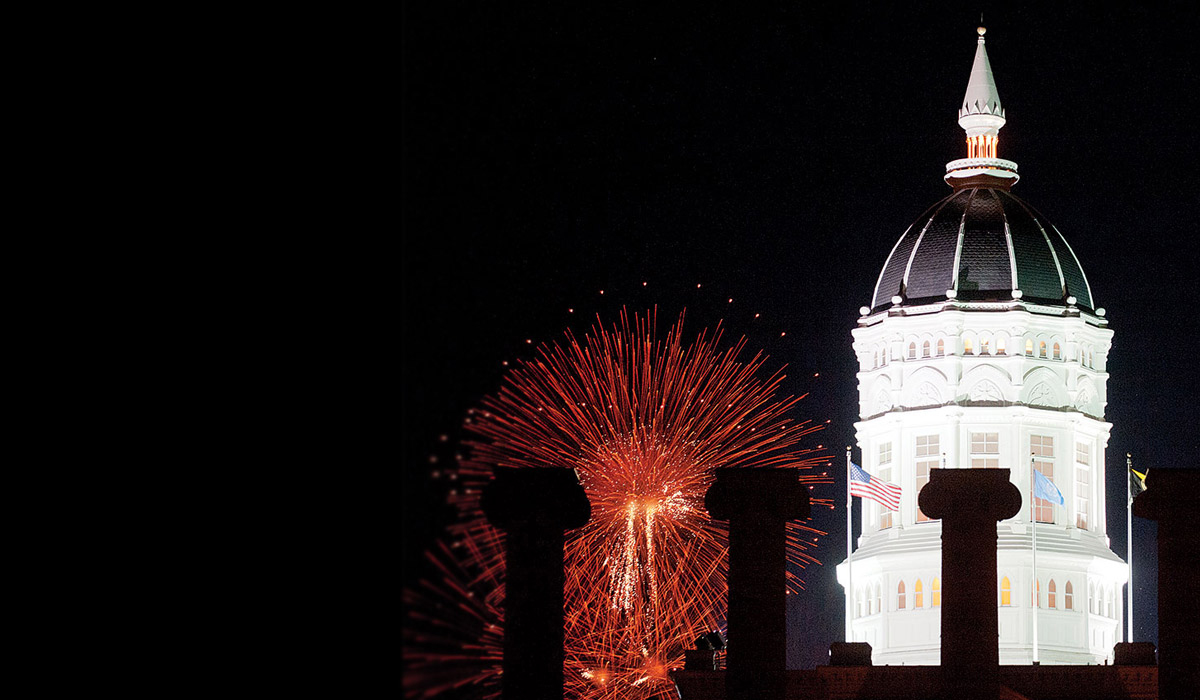 Fireworks in front of Jesse Hall.