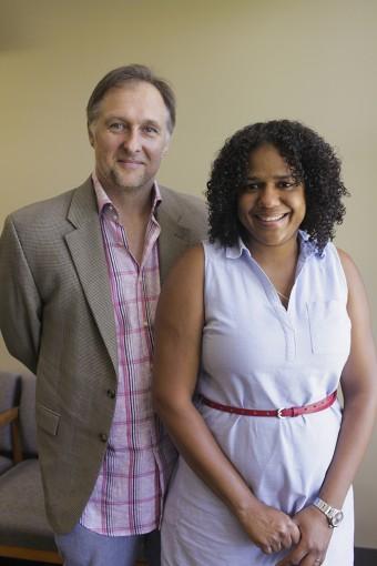 English professors Andy Hoberek and Sheri-Marie Harrison.