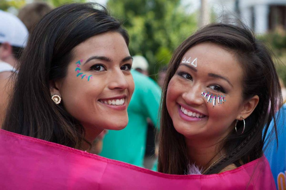 Girls in face paint.