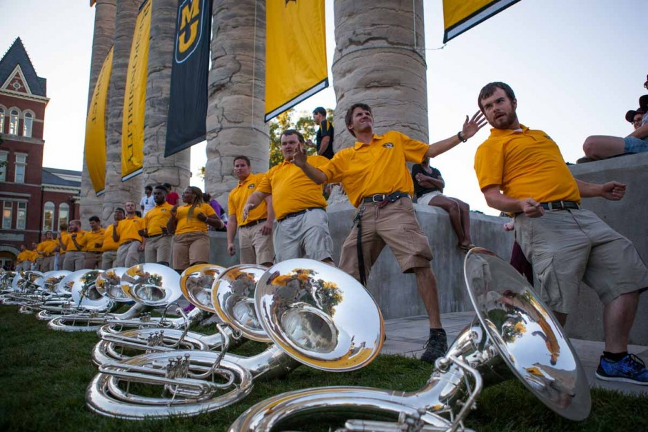 Marching Mizzou's tuba players dance, showing off their shimmy-ing moves and getting into the Tiger spirit Sunday evening at Tiger Walk. Photo by Tanzi Propst.