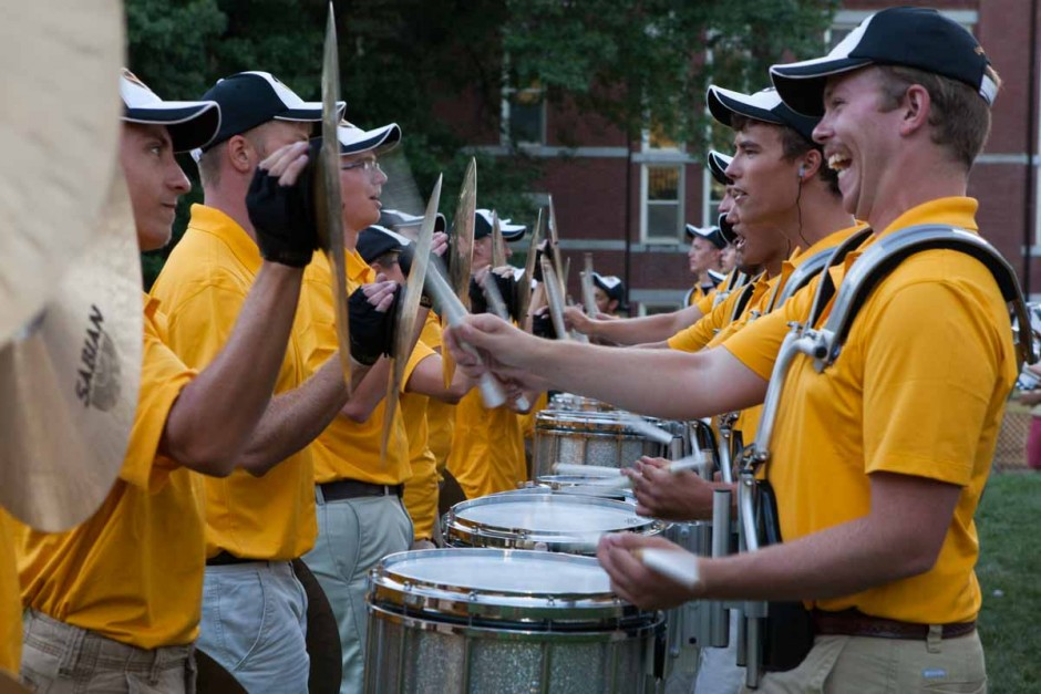 The Mizzou Drumline teams up with the cymbals near the end of their performance on the Quad Sunday evening. Photo by Tanzi Propst.