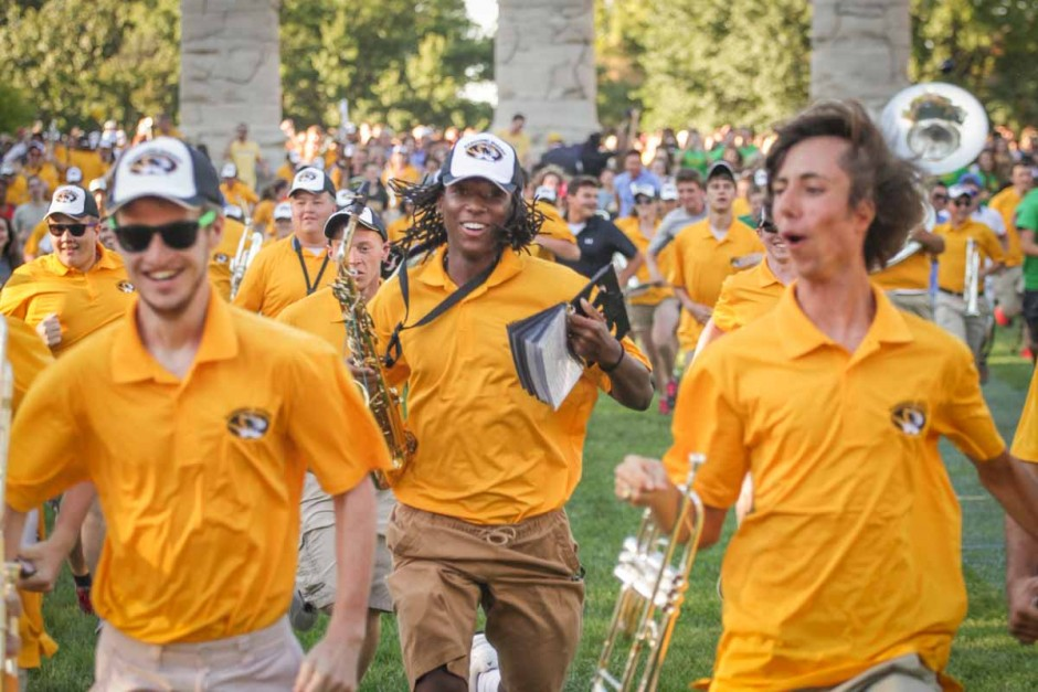 Marching Mizzou members lead the run to Tiger Stripe ice cream. Photo by Rob Hill.