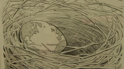 "A 1971 cartoon representing the earth as an egg in a bird's nest. The caption reads, ""Fragile: Handle with Care."""