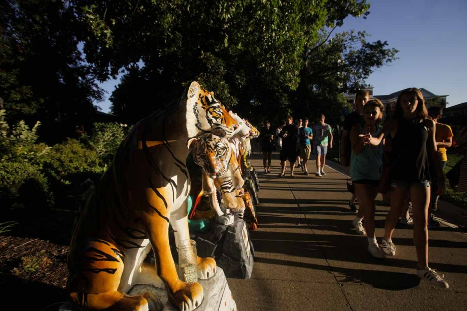 Tigers on the Prowl fundraiser and charity display 10 tiger statues on Francis Quadrangle Sunday evening. On October 2nd 2015 the tiger statues will be auctioned off at an event hosted by Kim and Melissa Anderson. Photo by Nic Benner.