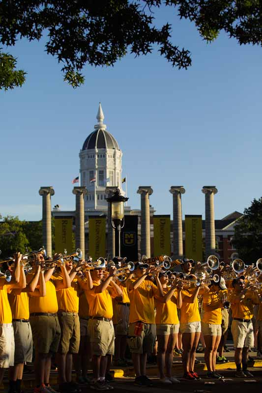 Marching Mizzou warm up before their concert on Francis Quadrangle. Photo by Nic Benner.