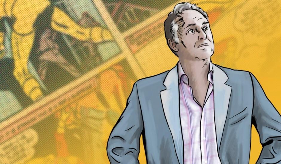 Comic drawing of Professor Andy Hoberek.