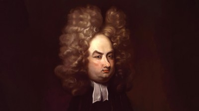 Illustration of Jonathan Swift with big hair.