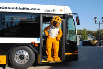 Truman the Tiger on a bus.