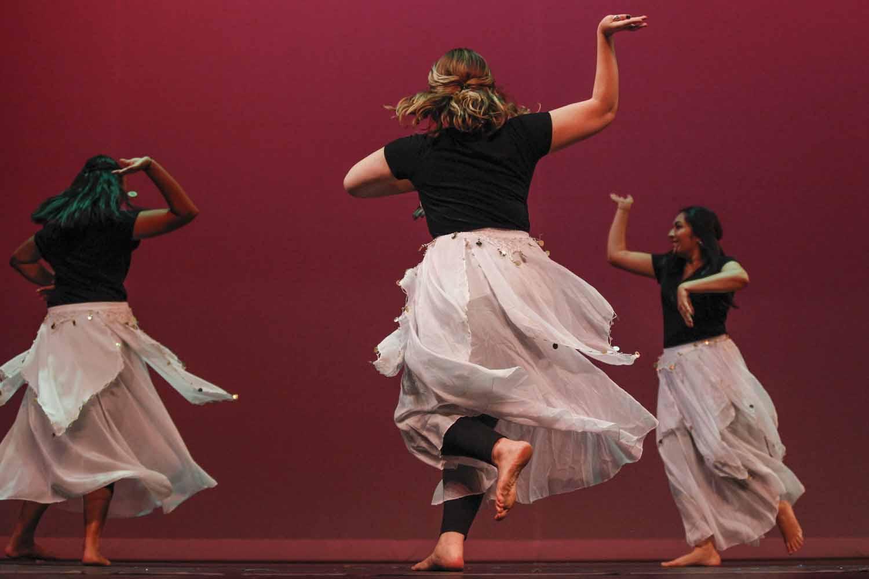"Members of Mizzou Masti dance to ""Chaiyya Chaiyya"" during the second act of India Nite at Jesse Hall."