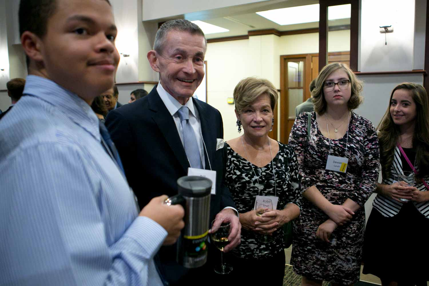 Bill Plante, a Senior White House correspondent for CBS News, mingles with students before ceremonies begin. Plante has covered the administrations of Ronald Reagan (beginning in 1981), Bill Clinton, George W. Bush and Barack Obama as well as every presidential campaign since 1968.