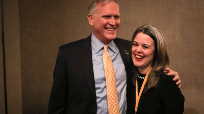 Dean David Kurpius and CNN's Digital editor in chief Meredith Artley share a laugh.