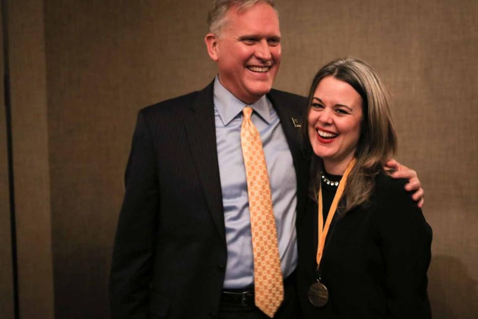 Dean David Kurpius and CNN's Digital editor in chief Meredith Artley share a laugh.