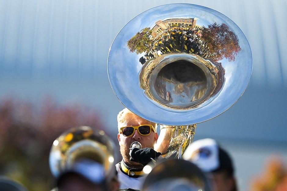 man playing tuba