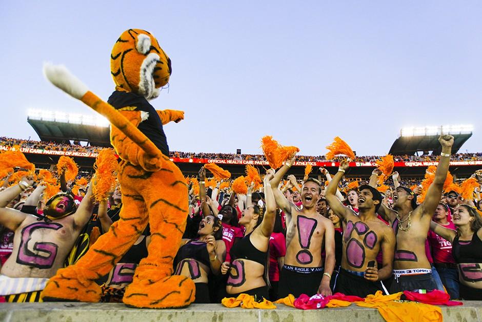 mascot pumping up crowd