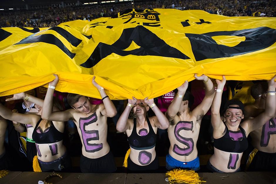 Football fans waving a flag