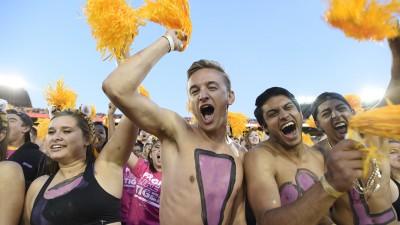 Football fans cheer