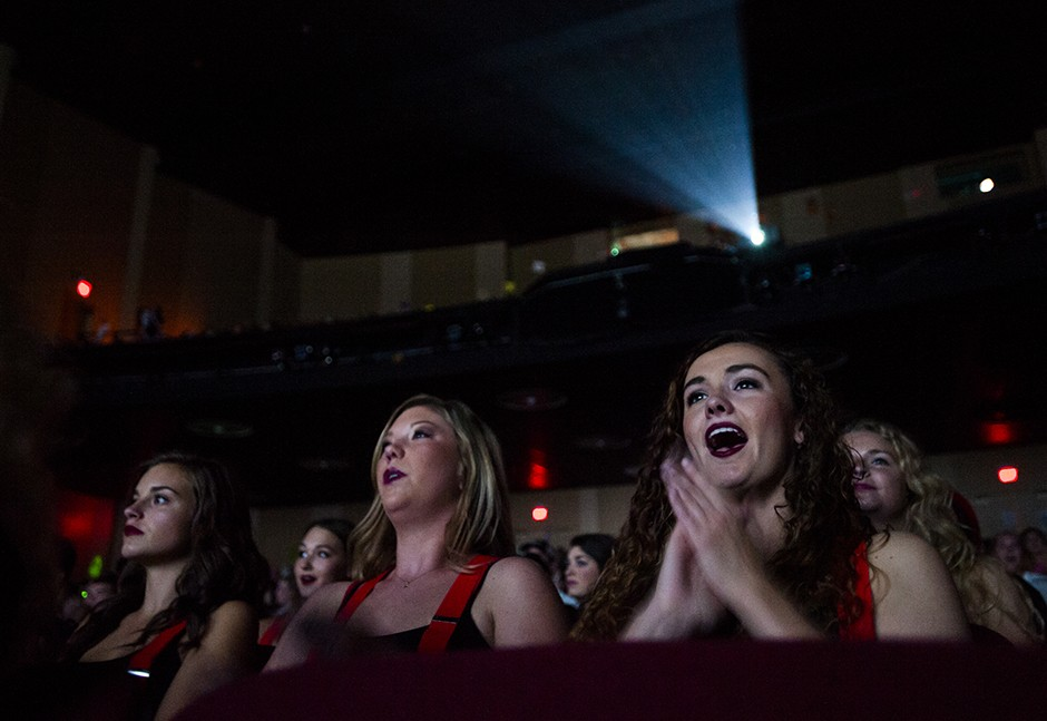 audience members cheer after a dance performance