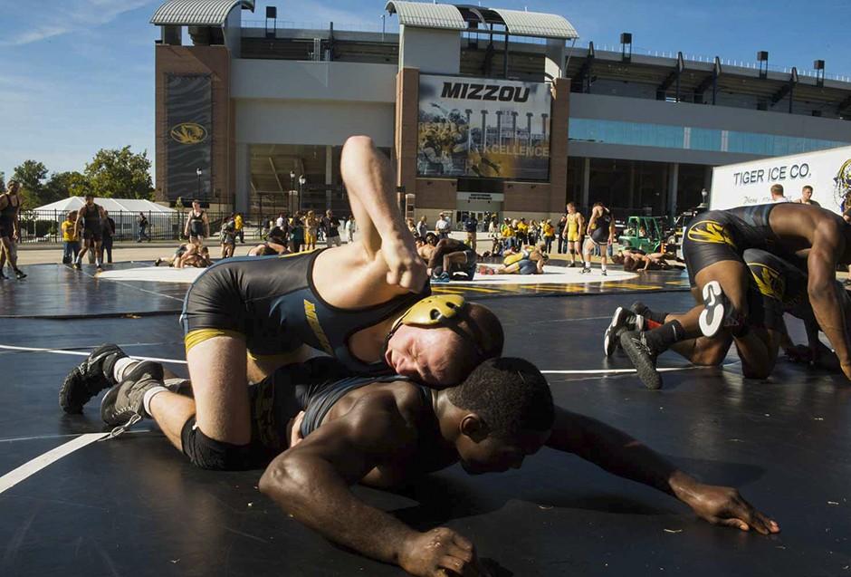 Wrestlers practice outside