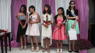 Girls in a beauty pageant.