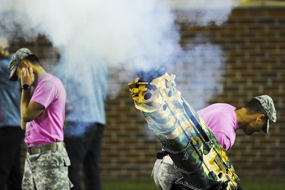 A canon fires after a Mizzou field goal