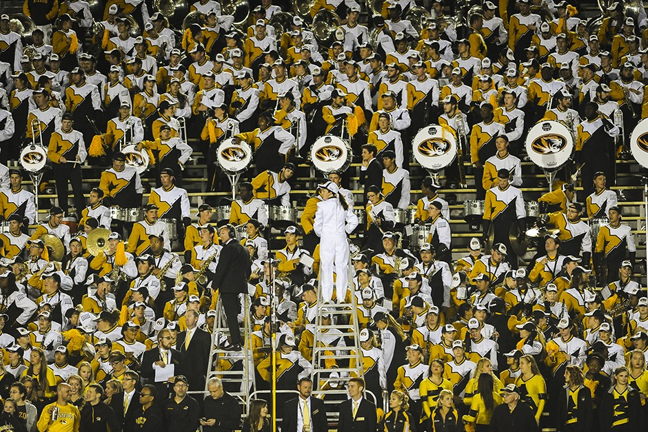 Marching band plays in the stands