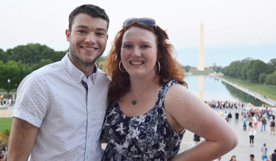 Students posing near the Washington Monument.