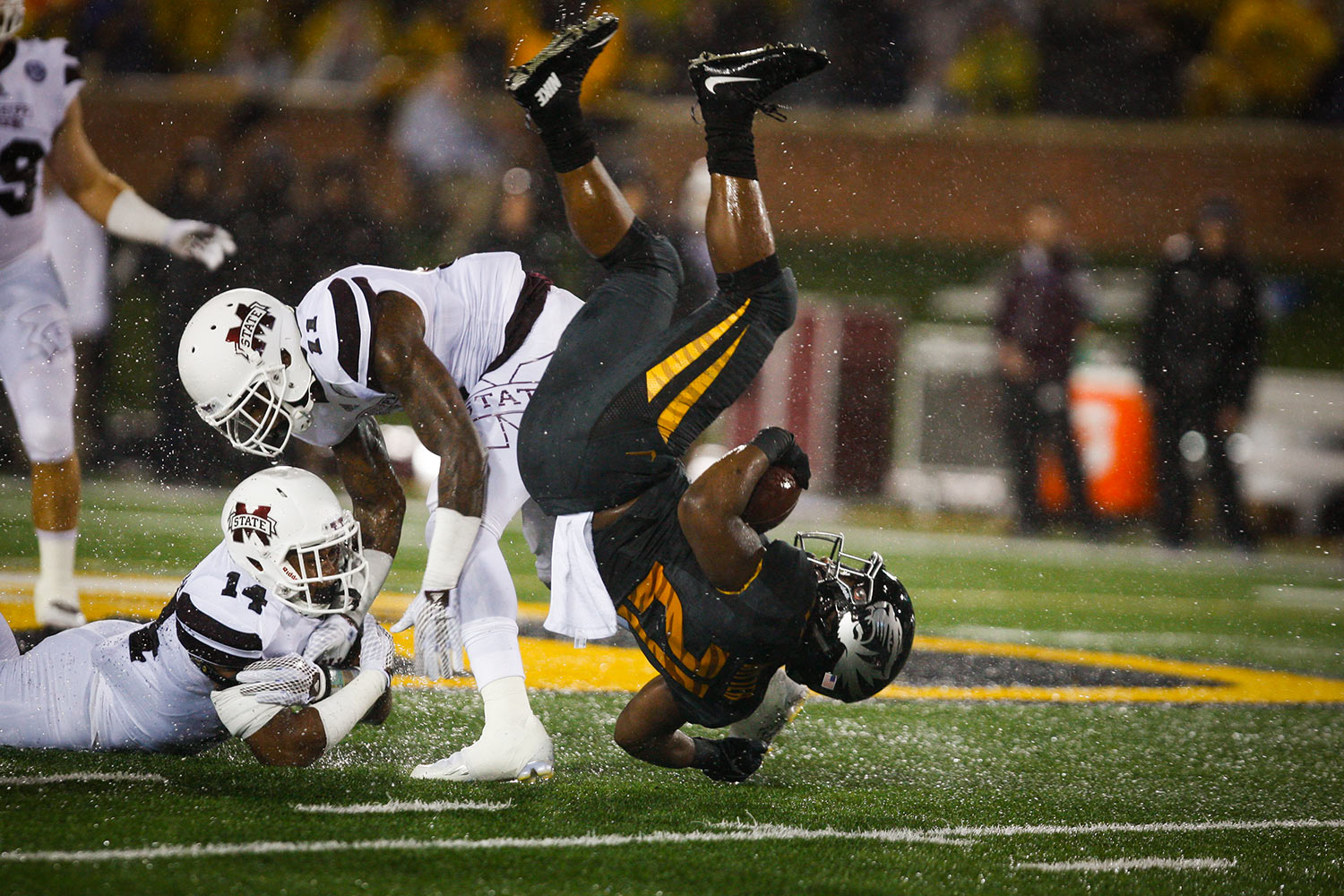 Tailback Ish Witter goes head over heels for Mizzou football. Photo by Tanzi Propst.