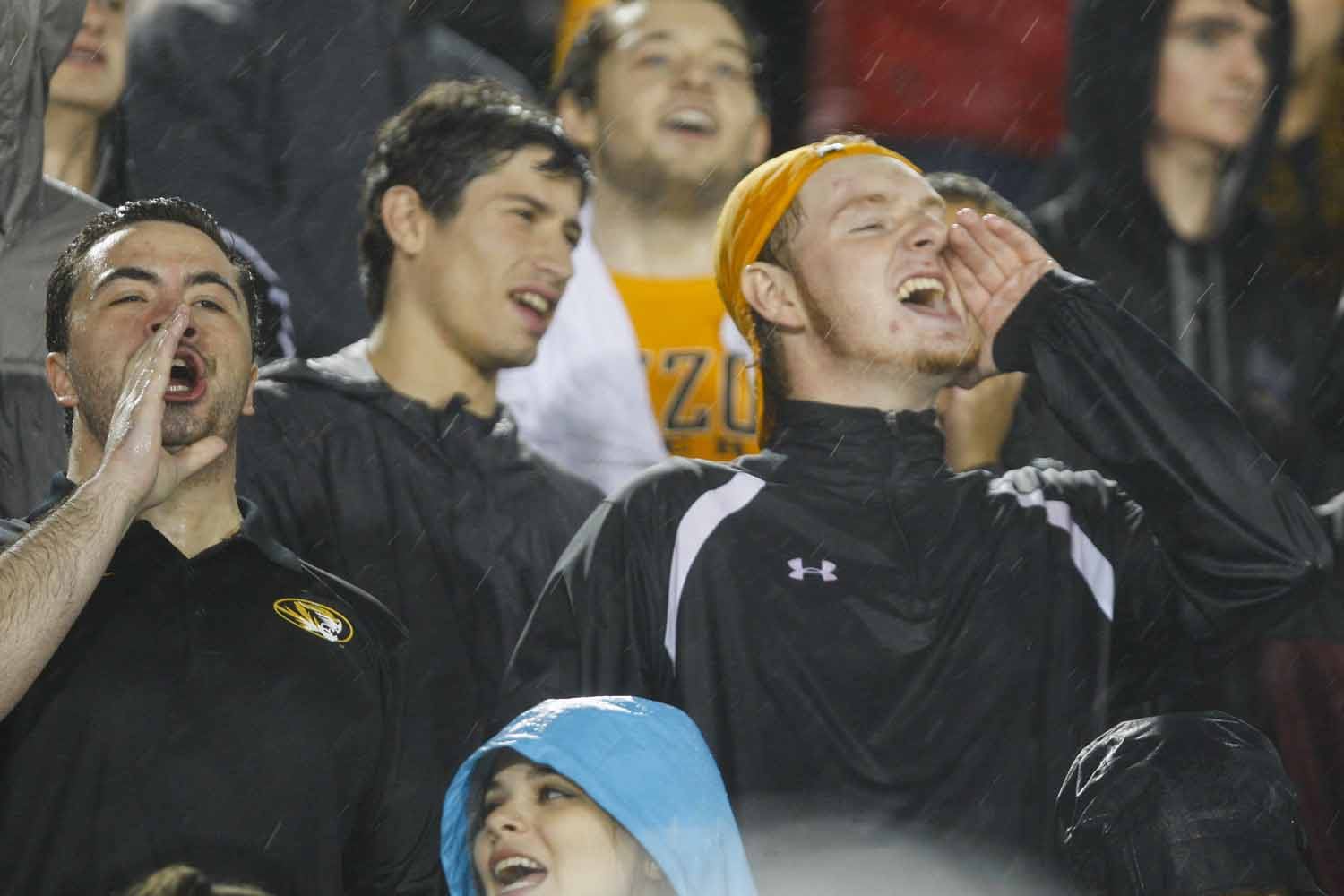 Juniors Danny Dunn, left, and Jeff Carpenter, right, yell for the Tigers after scoring six points with Russell Hansborough's touchdown, Thursday evening. Photo by Tanzi Propst.