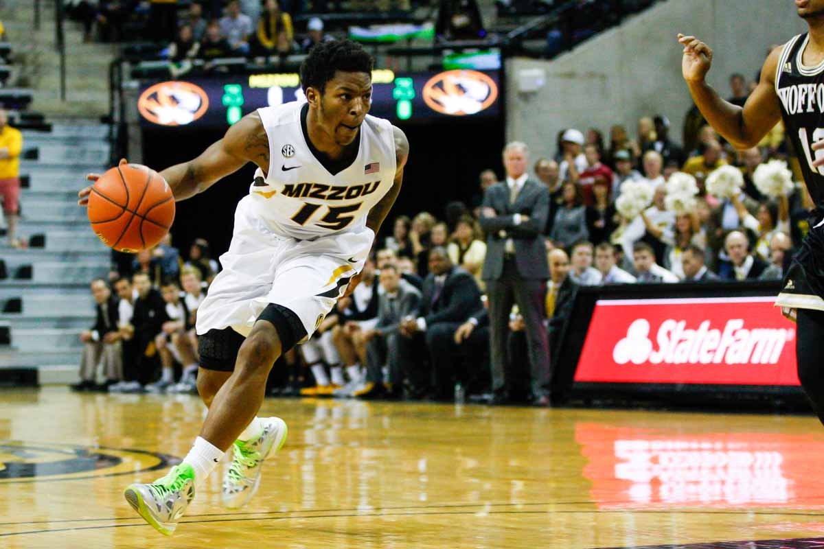 Wes Clark (15) dribbles down the court to attempt a basket for Mizzou against the Wofford Terriers, Friday at Mizzou Arena.