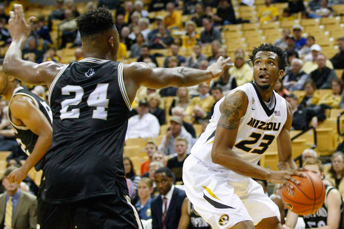 Jakeenan Gant (23) looks to make a basket during the game against the Wofford Terriers Friday at MIzzou Arena.