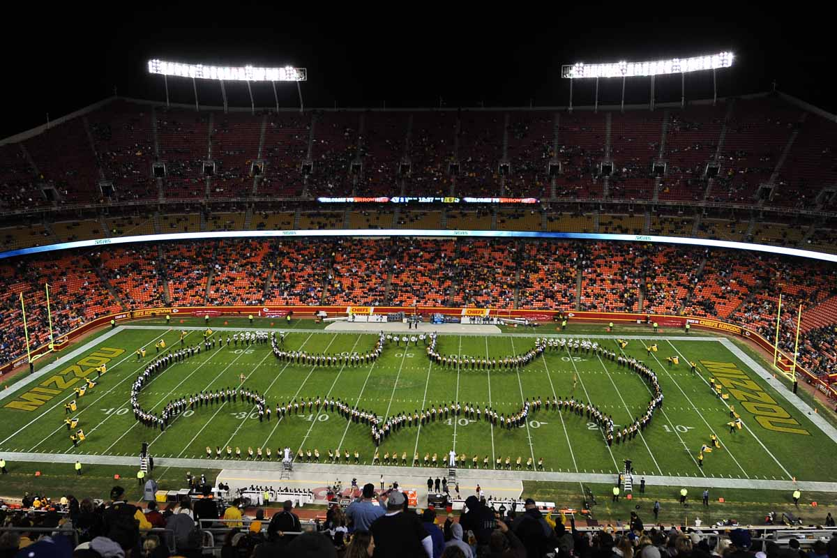 Marching Mizzou creates the iconic Batman figure during the halftime show at Arrowhead Stadium. Photo by Shane Epping.