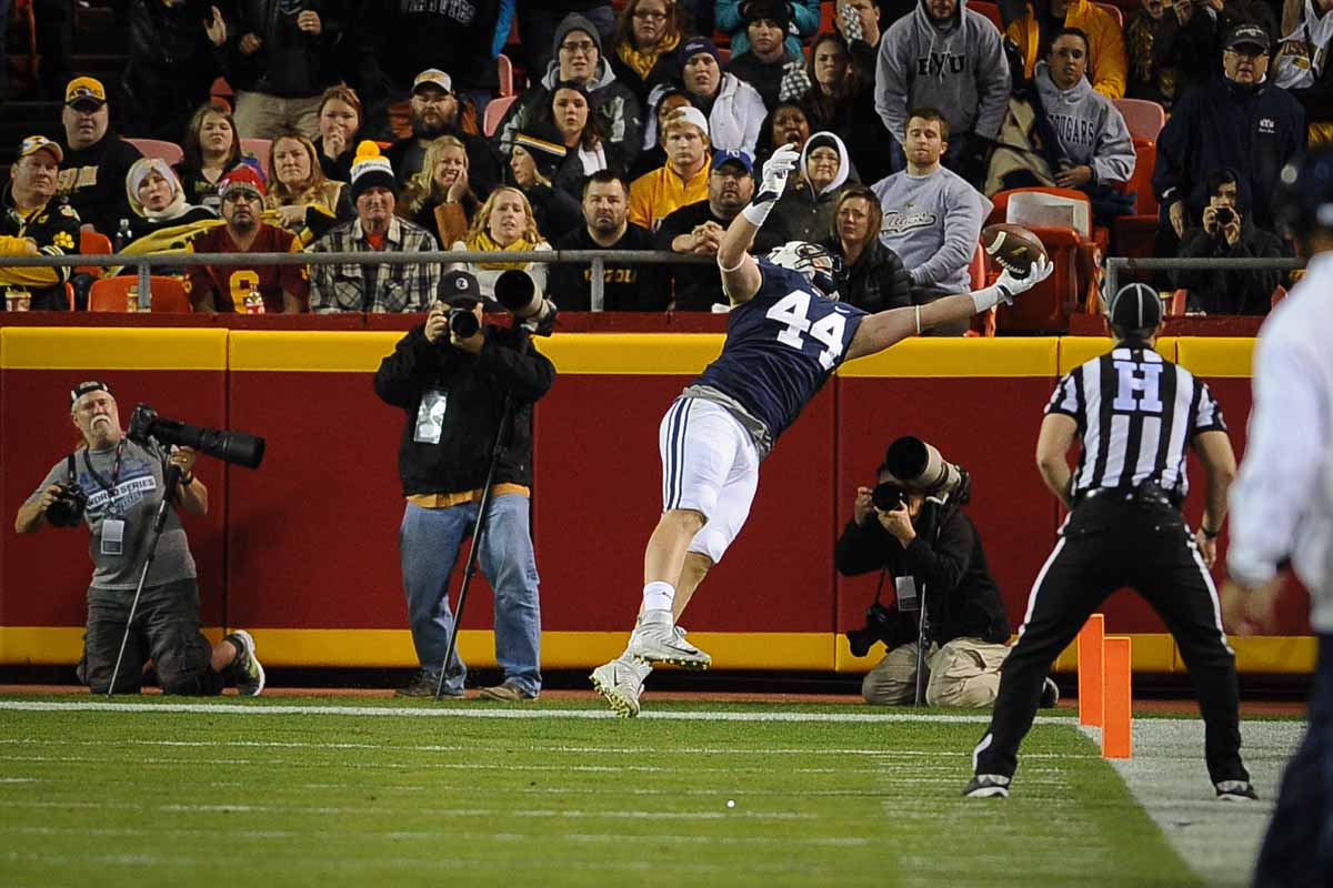 BYU senior Remington Peck drops a pass in the end zone. Photo by Shane Epping.