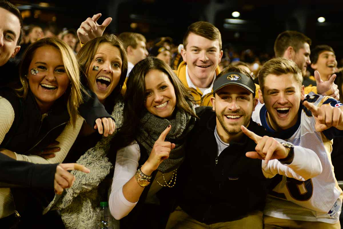 Mizzou fans celebrate a 12-1 record in NFL stadiums under Gary Pinkel. Photo by Shane Epping.