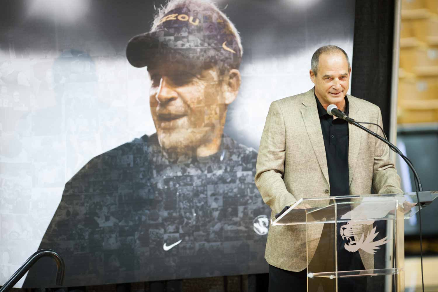 Coach Pinkel breaks a smile when talking about all the great memories he has had at Mizzou. A banner identical to the one behind him was placed by the entry/exit of Mizzou Arena where fans and members of the press could sign it and leave a message.