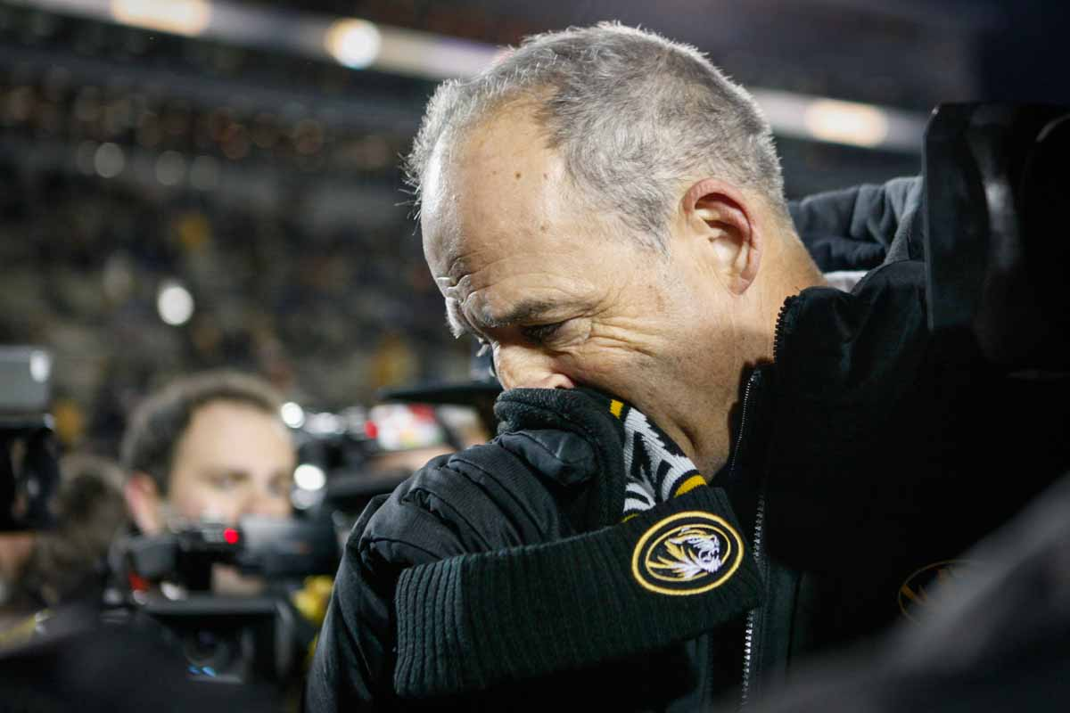 Mizzou Football Head Coach Gary Pinkel walks off of Faurot Field for the last time following the 8-19 loss against the Tennessee Volunteers Saturday evening. Photo by Tanzi Propst.