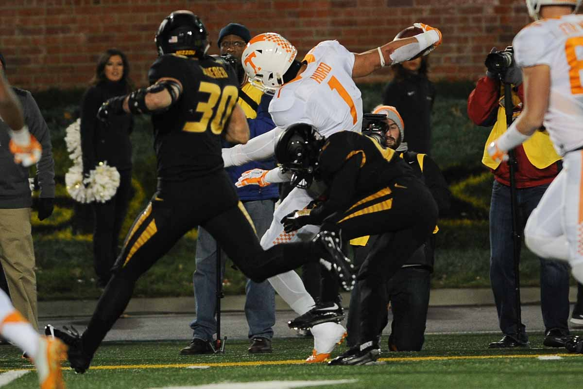 Sophomore defensive back Anthony Sherrils gets a tackle early in the game on Tennessee's running back Jalen Hurd. Photo by Shane Epping.