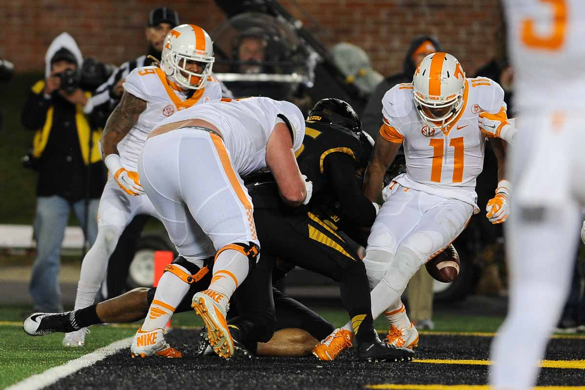 Quarterback Joshua Dobbs rushes eight yards for a touchdown before dropping the ball to put the Vols ahead 16-0 shortly before halftime. Photo by Shane Epping.