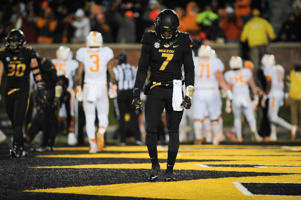 Senior defensive back Kenya Dennis lowers his head as the Tigers struggle for a win against Tennessee. Photo by Shane Epping.
