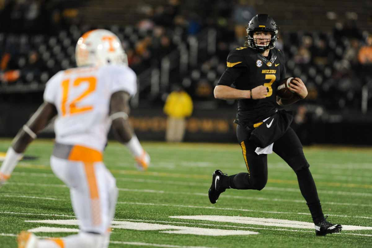 Freshman quarterback Drew Lock threw for 135 yards and ran for another 11 and a touchdown. Photo by Shane Epping.