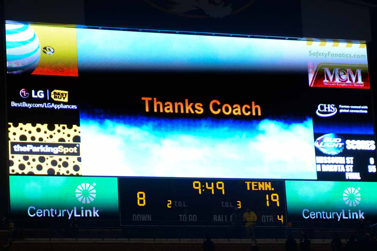 The scoreboard above the north end of Faurot Field thanks Coach Pinkel for his many years of coaching Mizzou Tigers football. Photo by Shane Epping.