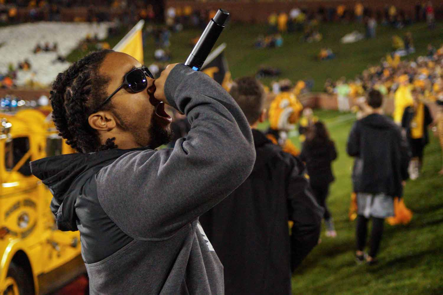 Nicholas Rodriguez, 'NicDanger', hypes up Tiger's Lair right before kickoff. Photo by Allison Collins.