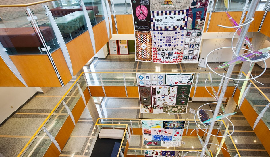 Aids quilt hanging in the Bond Life Sciences Center