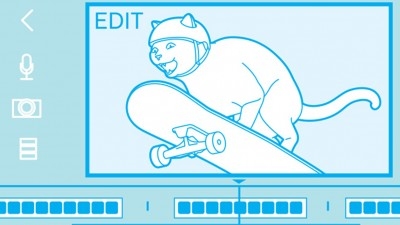 Illustration of cat video showing cat on skateboard.