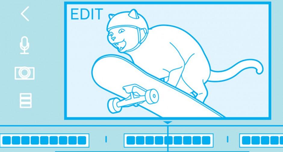 Illustration of cat video showing cat on skateboard.