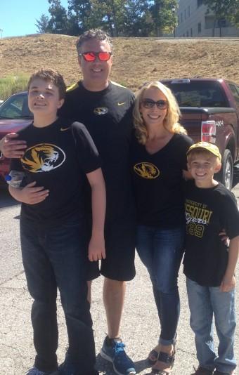 Hinkel Family in Mizzou shirts.