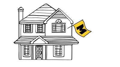 Illustration of house with Mizzou flag